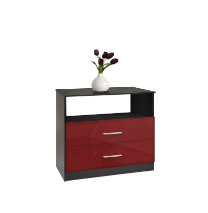2 Drawer Chest Red Glass