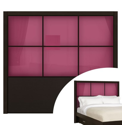 Berry Pink Colored Glass - Rico Queen Headboard