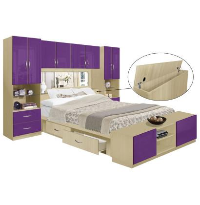 Studio 4 Drawer Platform Bed w Pier Mirrored Storagemax Headboard & Footboard