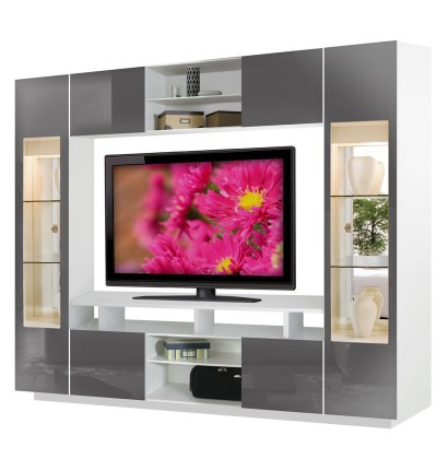 Tyler Wall Unit w Clear Glass Doors, Interior Backlight | Contempo Space