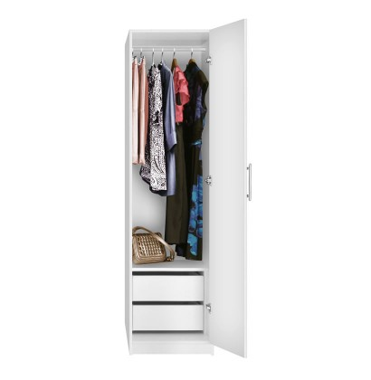 Alta Narrow Wardrobe Closet - Right Door, 2 Interior Drawers