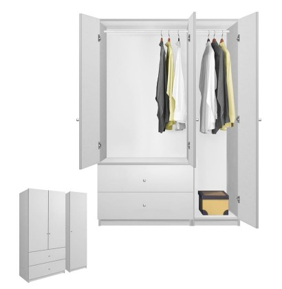 White Matte Wardrobe Armoire 3 Door
