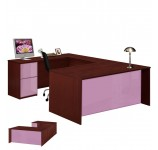 Alexis U Shaped Executive Desk - Full Pedestal Left Bridge