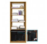 Isa Custom Closet Shelves with Hamper Pullout