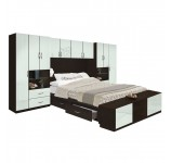Lincoln 4 Drawer Platform Bed w Pier Matte Headboard & Footboard