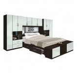Lincoln 4 Drawer Platform Bed w Pier Mirrored Headboard & Footboard