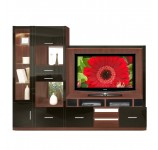 Selma Entertainment Center - Asymmetric w Mirror Backs, Lighted Glass Curio