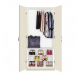 Alta Free Standing Wardrobe Closet - 3 Extending Shoe Storage Shelves