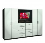 Aventa TV Wall Unit for Bedrooms - Bedroom Wall Unit 8 Drawer 4 Door
