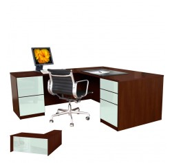 Alexis L Shaped Executive Desk - Full Pedestal Left Return