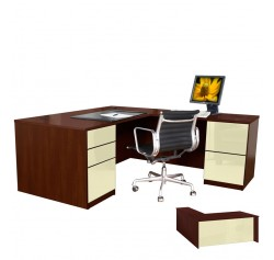 Alexis L Shaped Executive Desk - Full Pedestal Right Return