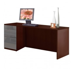 Alexis Credenza Desk with File Drawers - Left