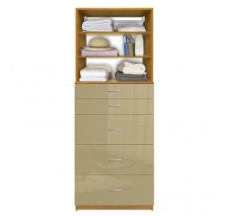 Isa Custom Closet System - 5 Drawers, 2 Adjustable Shelves