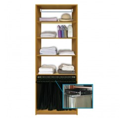 Isa Custom Closet - Shelves Plus Pull Out Pants Hanging Rack