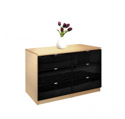 City Dresser Black 6 Drawer