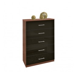 Tallboy Dresser Black Glass