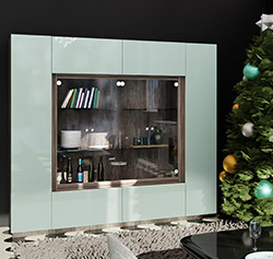 Jamison Display Cabinet - Modern Glass Curio, Concealed Storage