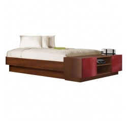 King Size Platform Bed with Storage Footboard