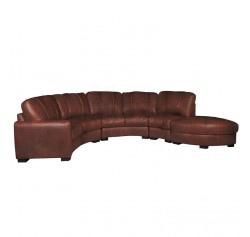 Jonathan Sectional - Curved Sectional Sofa in Chestnut Leather