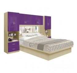 Studio Pier Wall Platform Bed w Mirrored Headboard