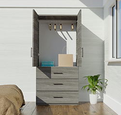Alta Wardrobe Armoire - 3 External Drawers