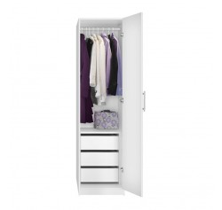 Alta Narrow Wardrobe Closet - Right Door, 3 Interior Drawers