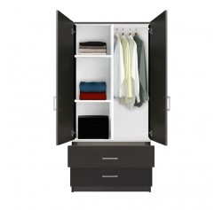 Alta Wardrobe Armoire - 2 Drawer Wardrobe, Shelves, Hangrod