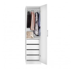 Alta Super Space Saver - Narrow Wardrobe, Right Door, 4 Interior Drawers