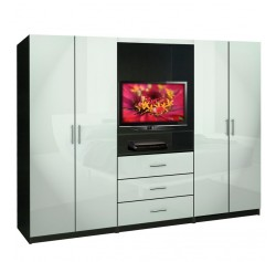 Aventa Bedroom Wall Unit - TV Unit w Drawers and Doors