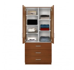 Alta Wardrobe Armoire   Adjustable Shelves, 3 Drawers