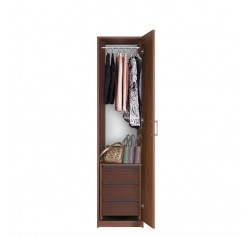 Bella Narrow Closet - Right Opening Door, 3 Interior Drawers