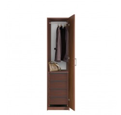Bella Narrow Closet - Right Opening Door, 4 Interior Drawers