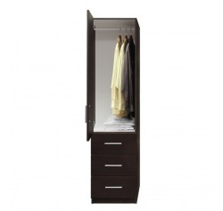 Alta Narrow Wardrobe Closet - Left Door, 3 Exterior Drawers