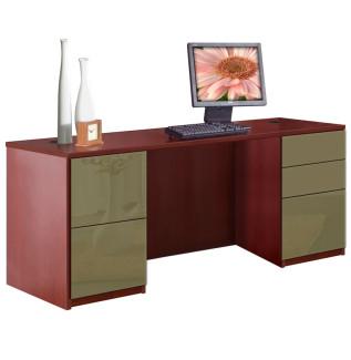 Alexis 5 Drawer Credenza Computer Desk - Full Pedestal
