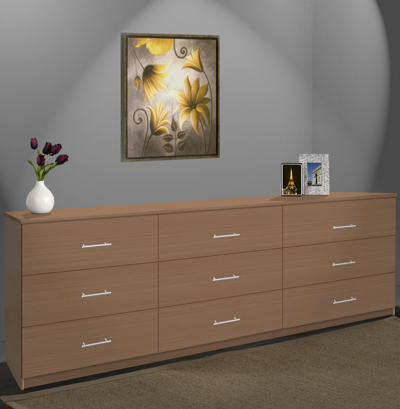 Modern 9 Drawer Triple Dresser - 8 Feet Long | Contempo Space