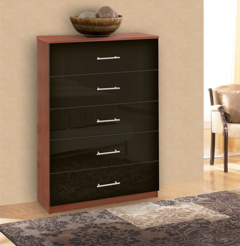 Modern Tallboy Dresser 5 Drawer Chest Of Drawers