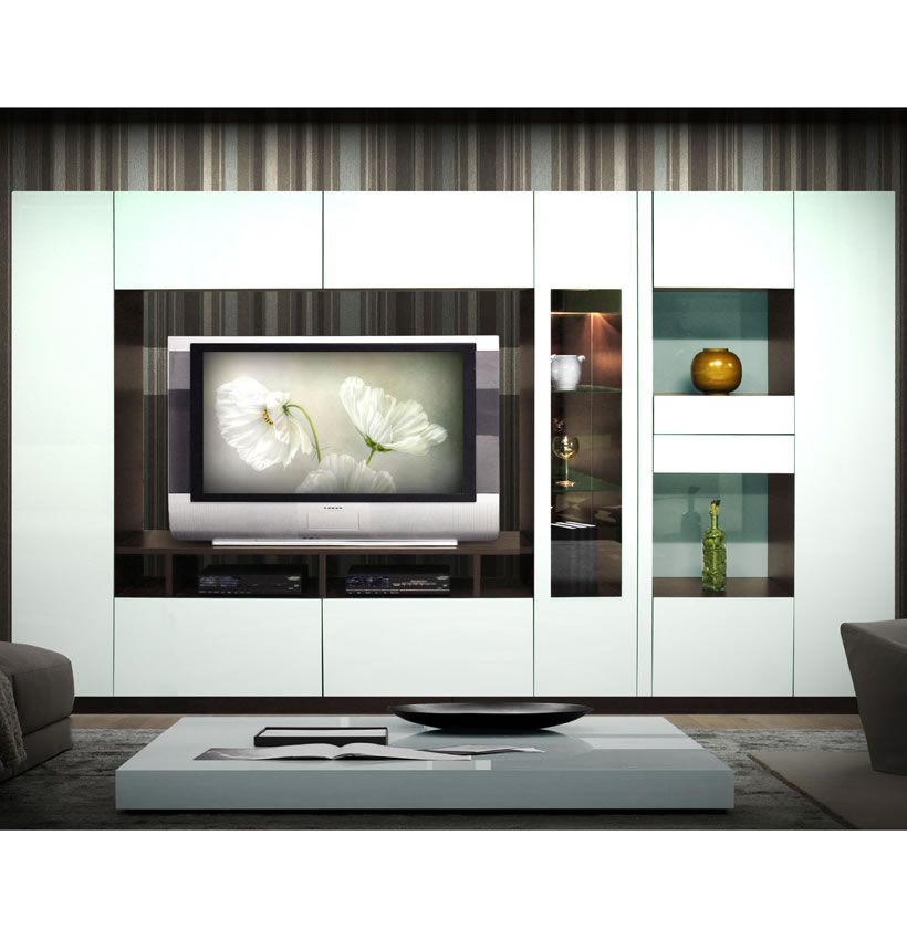 Isabella Wall Unit W Mirrored Display Glass Shelves And
