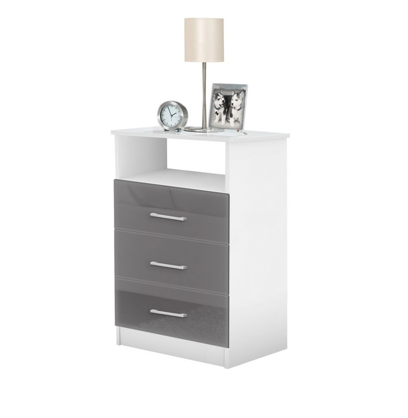 Black Nightstand With Mirrored Drawers