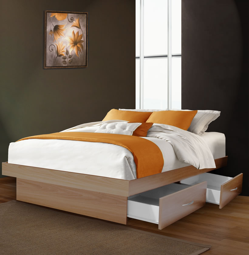 Full Size Platform Bed With 4 Drawers Contempo Space