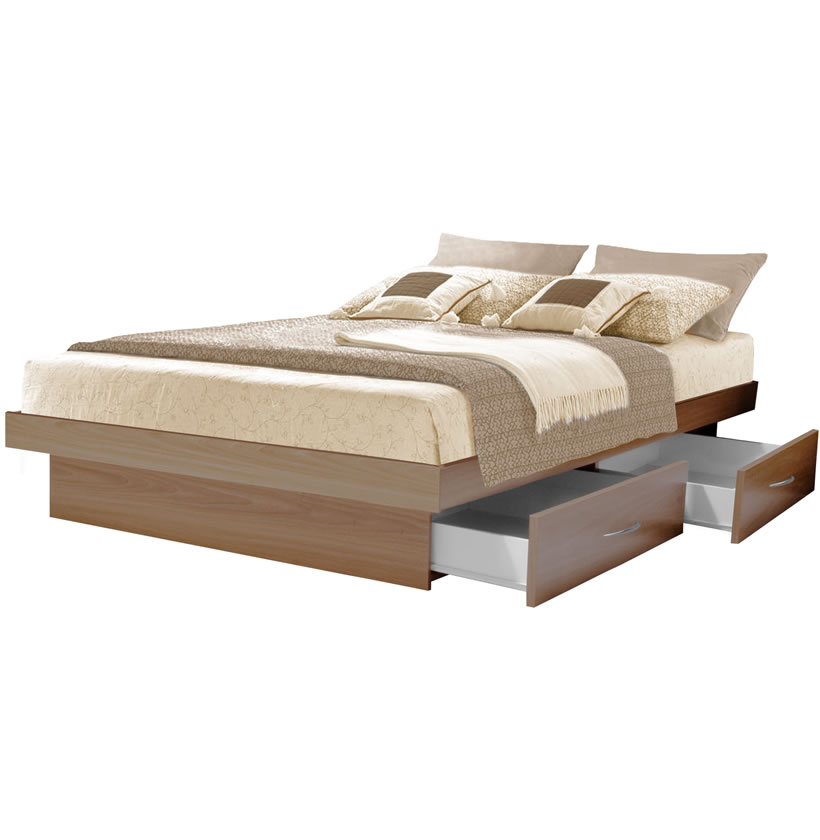 King Platform Bed With 4 Drawers Contempo Space,Best Time To Rent A House