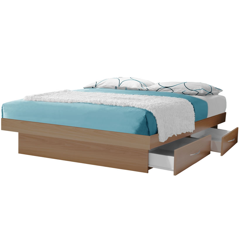 California King Platform Bed with 4 Drawers Contempo Space