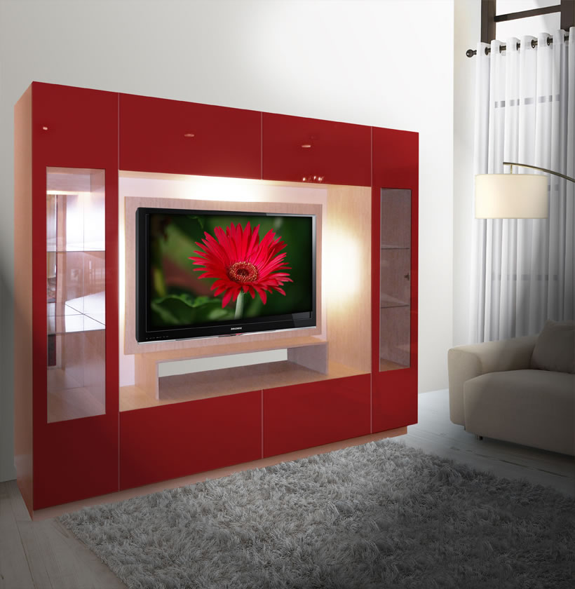 Sawyer Entertainment Center Contemporary Glass Doors