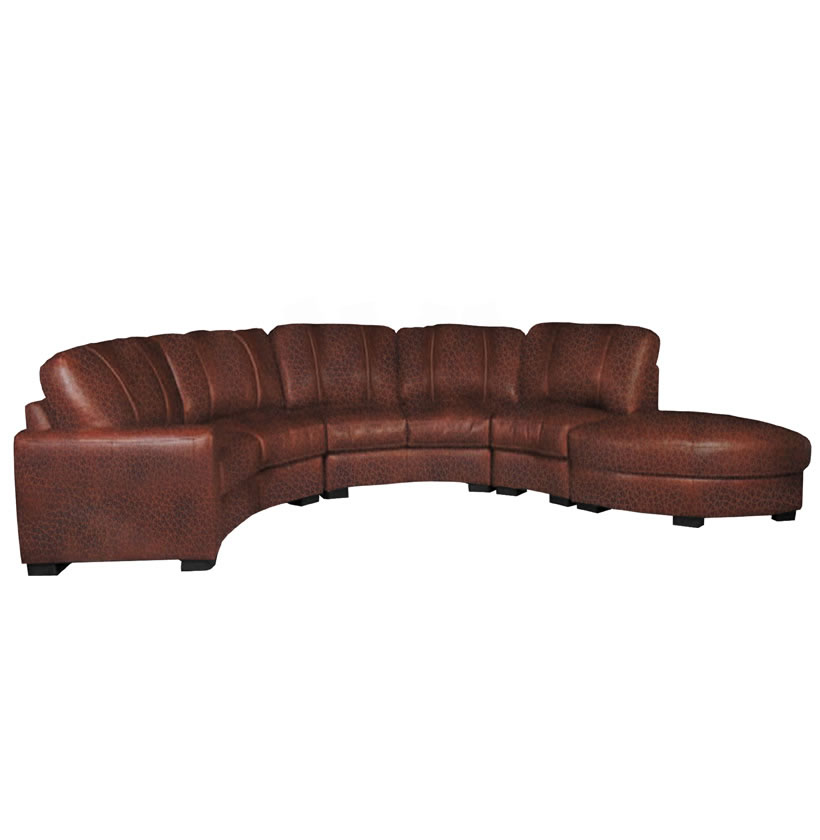 Jonathan sectional curved sectional sofa in chestnut leather contempo space Curved loveseat sofa