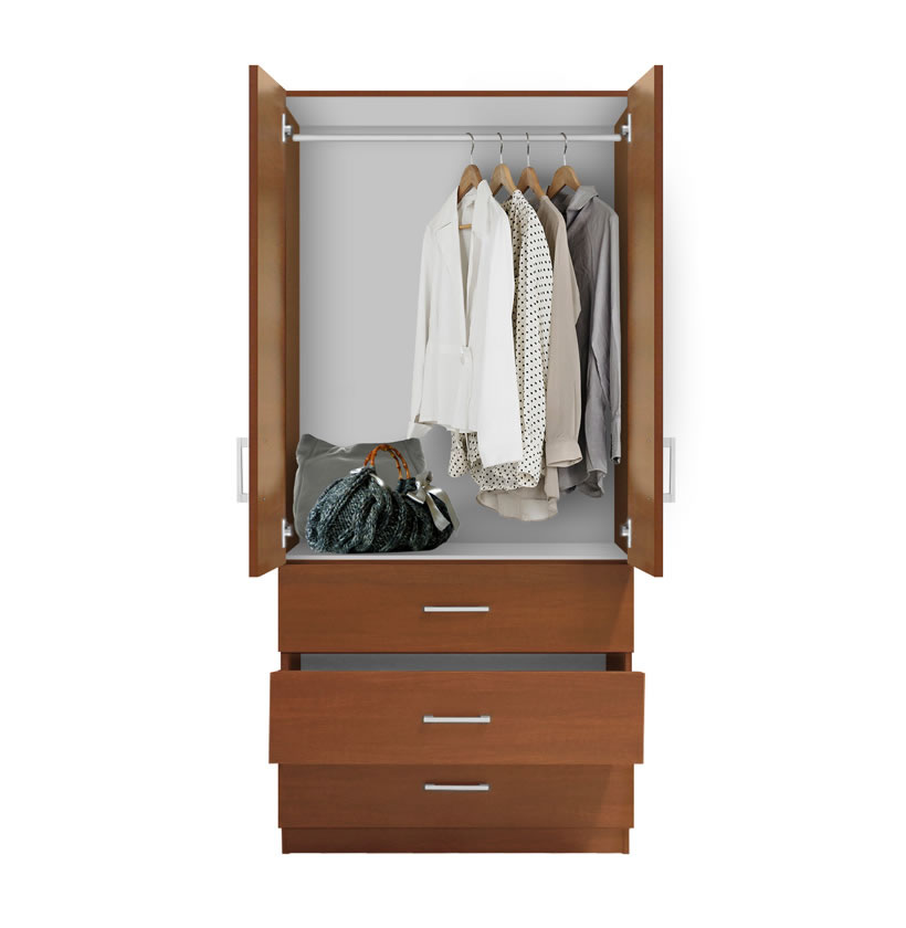 Alta Wardrobe Armoire 3 External Drawers Contempo Space