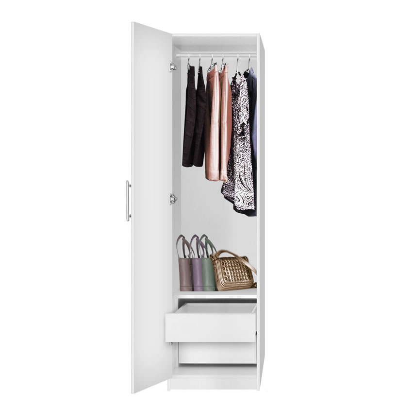Alta Narrow Wardrobe Closet Left Door 2 Interior Drawers Contempo Space