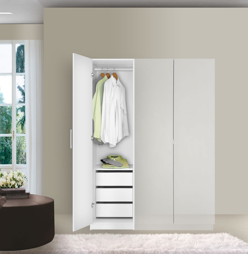 Alta Narrow Wardrobe Closet Left Door 3 Interior