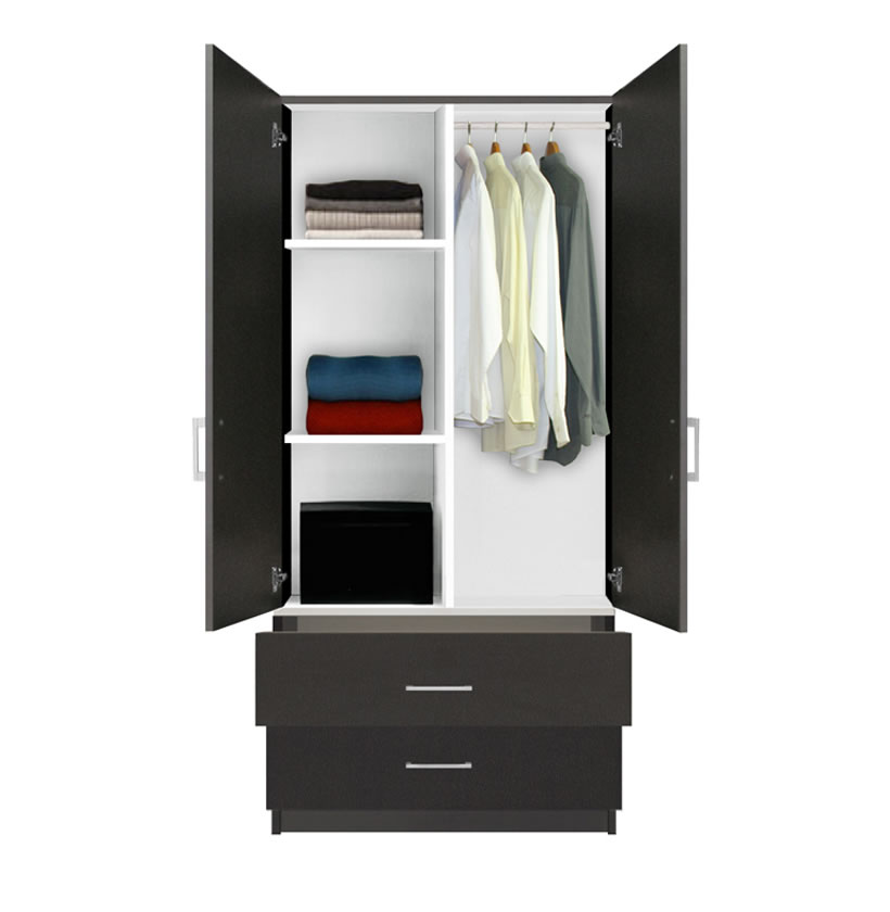 Alta Wardrobe Armoire - 2 Drawer Wardrobe, Shelves ...