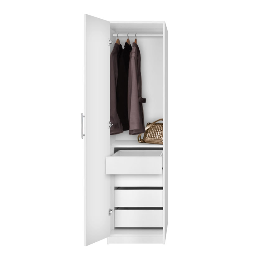 Alta Super Space Saver Narrow Wardrobe Left Door 4 Interior Drawers Contempo Space