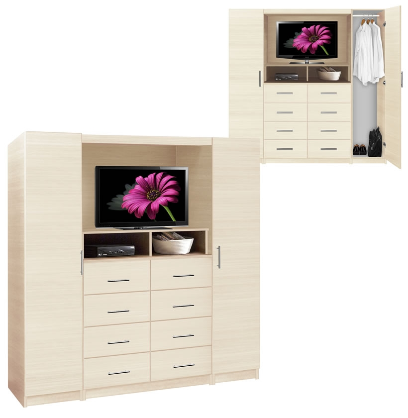 Chest With TV Space, 8 Drawers, Wardrobe