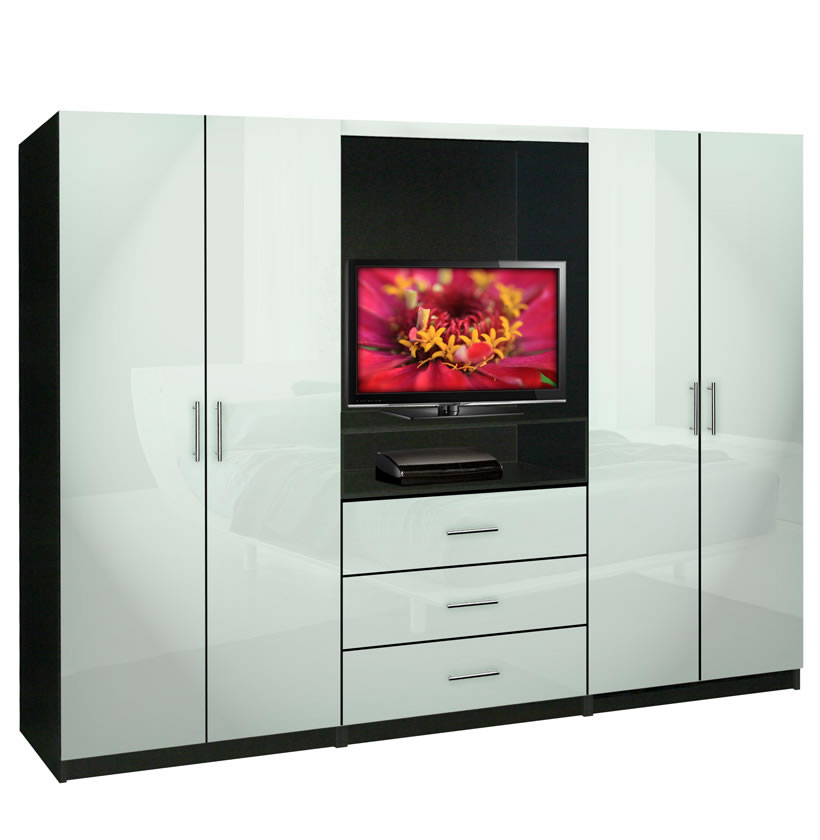 Aventa bedroom wall unit tv unit w drawers and doors for Bedroom designs with tv and wardrobe